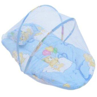 Harga JinGle Small Infant Baby Mosquito Insect Net Tent Mattress Cradle Bed Canopy Cushion Pillow Set (Blue)