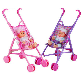 Harga XIYOYO Dolls Buggy Stroller Pushchair Pram Foldable Girls Toy Doll Prambaby Doll
