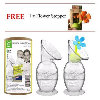 Harga 2x 150ml Haakaa Silicone Breast pump + 1x Flower Stopper
