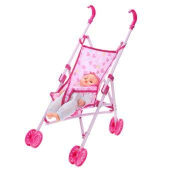 Harga Dolls Buggy Stroller Pushchair Pram Foldable Girls Toy Doll Pram Baby Doll