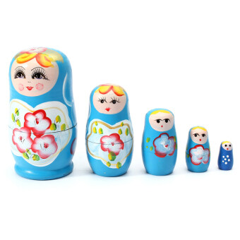 Harga 1 Set 5pcs Matryoshka Russian Nesting Dolls Toy Wooden Doll Girl Children's Toy Blue