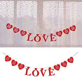 Harga 3M Red Lover Valentine Banner Bunting LOVE Garland for Wedding Room Car Decor