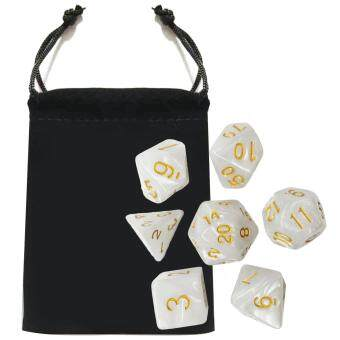 Harga 7 PCS Acrylic Polyhedral Number Game Dice Set 7 Style D4 D6 D8 2D10 D12 D20 with Storage Pouch for Dungeons And Dragons Party Math Game Playing