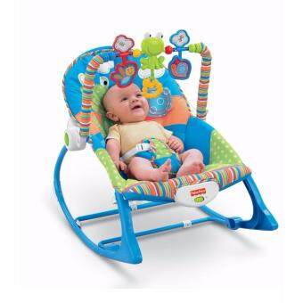 Harga SmartKids Baby to Toddler Rocker Chair Froggie Fisher Price Vibration Bouncer infant rocker music chair(Blue)