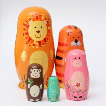 Harga 5pcs/set Cute Wooden Nesting Dolls Matryoshka Animal Russian Doll Paint Gift