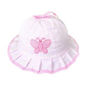 Harga Cocotina Embroidery Butterfly Striped Sun Hat Pink