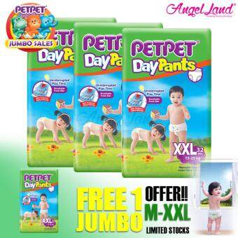 Harga [Jumbo Sales Deal~3FOC1] PETPET DayPants Diaper Jumbo Packs XXL32 (4packs)