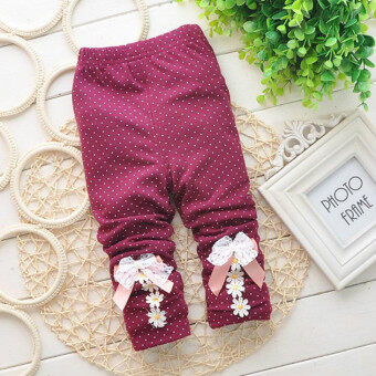 Harga Baby Girls Leggings Dotted Toddler Girl Floral Spring Autumn Pants Kids Girl Pants Trousers (Beige)