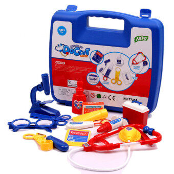 Harga EcoToy Pretend Doctor Nurse Medical Carry Case Medical Kit Role Play Set Kids Toy (Blue)