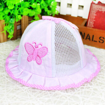 Harga Cute Baby Girls Bow rope windproof breathable baby shade mesh cap Cotton Summer Hat Cap-pink