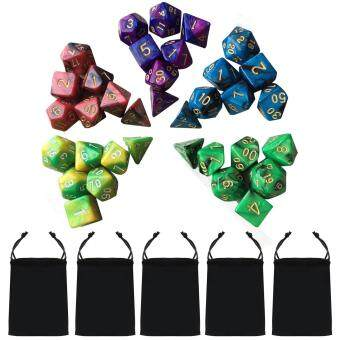 Harga 5 Set 35 PCS Acrylic Polyhedral Number Game Dice 7 Style D4 D6 D8 2D10 D12 D20 with Storage Pouches for Dungeons And Dragons Party Math Game Playing