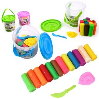 Harga 12 colors plasticine child DIY toys child interest Playdough play doh gifts for boys girls