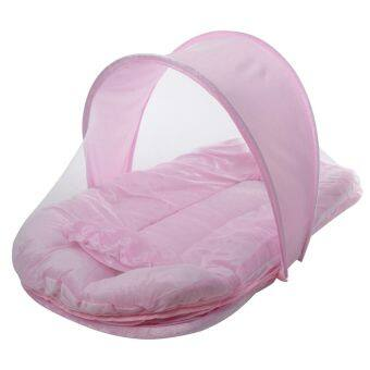Harga Portable Baby Sleep Bed Crib Folding Mosquito Net Infant Cushion Mattress Tent Pink High Quality