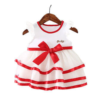 Harga Girls Cotton Baby Cute Bow Summer Newborn Dress Clothes Letters Kids Infant Girl Sleeveless Dresses