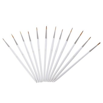 Harga 12pcs Miniature Art Brushes for Fine Detailing Art Painting Face Painting Models Nail Art Use with Acrylic Watercolor Oil (White)