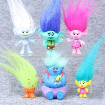 Harga 2016 Trolls Movie 6Pcs/Set 8cm Dreamworks Figure Collectible Dolls Poppy Branch Biggie PVC Trolls Action Figures Doll Toy Trolls