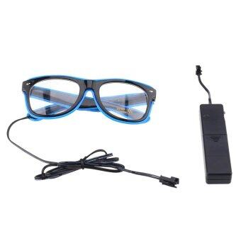 Harga El Wire LED Light up Shutter Glasses for Party Concert 3-mode Sound Control Blue