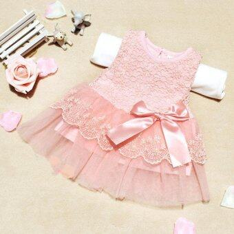 Harga Cute Infant Baby Girls Outfits Kids Children Lace Voile Wedding Party Dresses Little Girl Clothes (Pink)