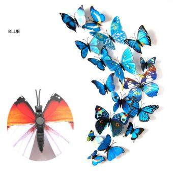 Harga 12pcs 3D Butterfly wall stickers home decor Sticker on the Art Wall decal Mural for creative vintage Home appliances kids rooms