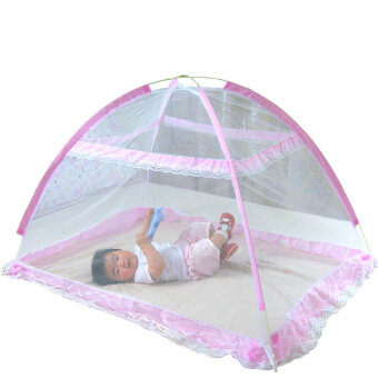 Harga Baby Infant Bed Canopy Mosquito Net Tent Foldable Portable Crib Netting (Pink)
