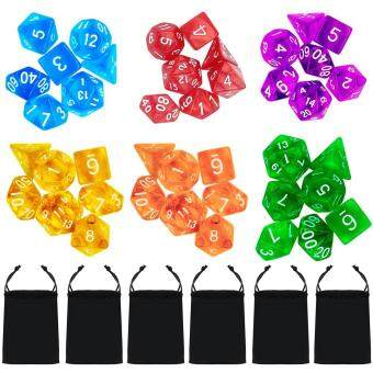 Harga 6 Set 42 PCS Acrylic Polyhedral Number Game Dice 7 Style D4 D6 D8 2D10 D12 D20 with Storage Pouches for Dungeons And Dragons Party Math Game Playing