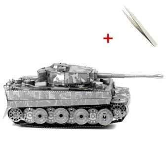 Harga IBERL 3D Metal Puzzle adult models Leaning educational toy DIY Tiger Tank Metal 3D Jigsaw Puzzles Best Gift with a Pincette Tool