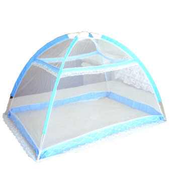 Harga Baby Infant Bed Canopy Mosquito Net Tent Foldable Portable Crib Netting (Blue)