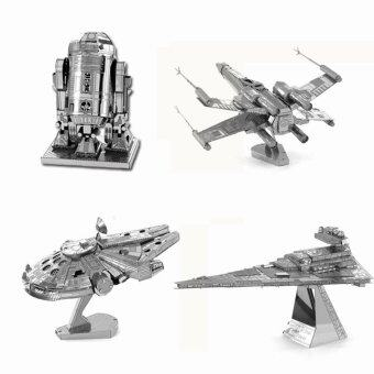 Harga 3D Metal Earth Puzzle Aircraft Fighter Vehicle Insect Famous Building Scale Model DIY Jigsaw Puzzles Nano Decoration Toys