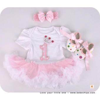Harga Baby Girl Little One Baby Romper Dress + Headband + Shoes