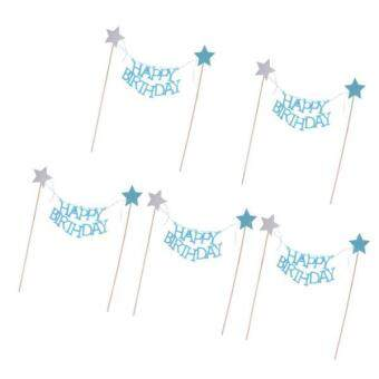 Harga MagiDeal 5 Pieces HAPPY BIRTHDAY Cake Topper Banner Glitter Star Cake Decor Lake Blue