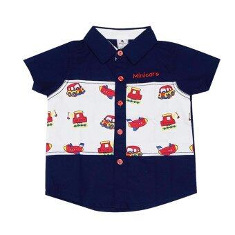 Harga Anakku Minicare Woven Cotton Short Sleeve Front Opening Shirt (Navy)