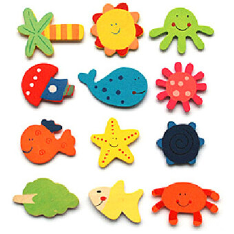 Harga Fancytoy 24Pcs Funny Refrigerator Toy Wholesale Animals Wooden Fridge Magnet Sticker Cute