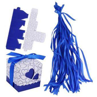 Harga MagiDeal 2x50pcs Love Heart Gift Box Candy Boxes Wedding Favor Party Decor w/Ribbons Blue