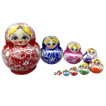 Harga 10PCS Colorful Handmade Cutie Nesting Doll Madness Russian Matryoshka Doll