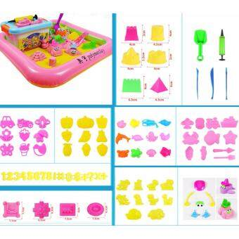 Harga Kinetic Sand Set (2kg coloured sand with 80+pcs moulds & tools, inflatable tray & pump)