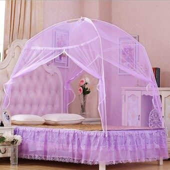Harga (Mosquito Net)White Portable Folding Mosquito Net Tent Freestand bed Twin Queen King Purple