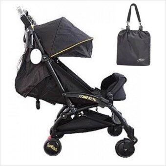 Harga Aldo Compatto Stroller New Version (with Bumper Bar & Cup Holder) - Black