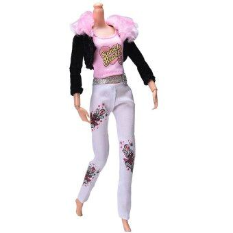 Harga 3Pcs Fur Collar Coat Suit for Barbie Dolls Pink Vest Black Coat Doll Cloth