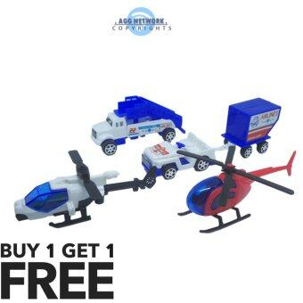 Harga 5 pcs Airport Transport Toys Playset + FREE Another 1 Set of Airplane ( Buy 1 FREE 1 )