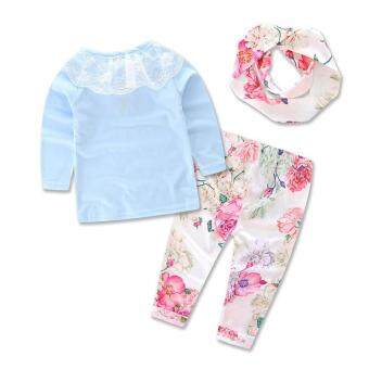 Ins 2016 froral girl Spring clothes t-shirt+Pants +headwear 3 pcspattern set of clothes newborn baby suit children clothing set - 2