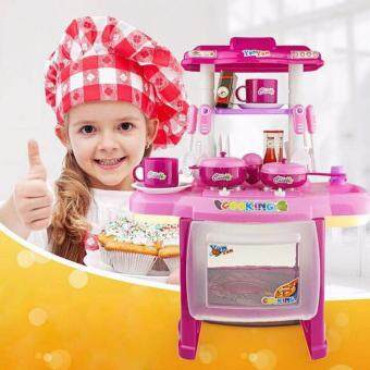 Kids Mini Kitchen Fun Playset With Full Utensils Set (Pink)