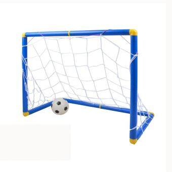 LT365 Small Size Kids Sports Soccer Goals with Soccer Ball and PumpPractice Scrimmage Game - Blue + White