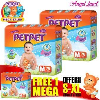 [Mega Sales Deal~2FOC1] PETPET Tape Diaper Mega Packs M76 (3packs)