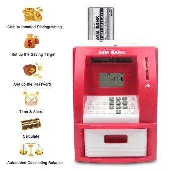 Mini ATM Bank Piggy Bank Personal Saving Money Box Machine WithDigital Display For Children As Gift Red
