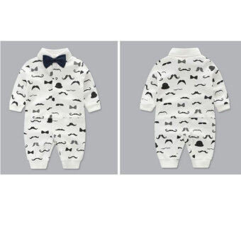 Newborn Cotton Baby Boys Beard Pattern Clothes Baby Rompers Long Sleeve Body Suits Jumpsuits - 2