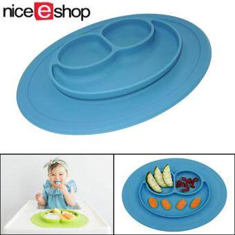niceEshop Baby Silicone Feeding Placemat Plate,Blue
