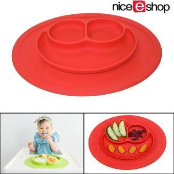 niceEshop Baby Silicone Feeding Placemat Plate,Red