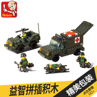 Small Lu Ban children's army forces series ambulance car assembled building blocks