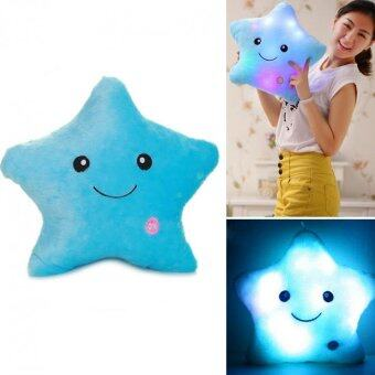 SOKANO 7 Colour Changeable LED Light Stuffed Pillow- Star Shape Blue