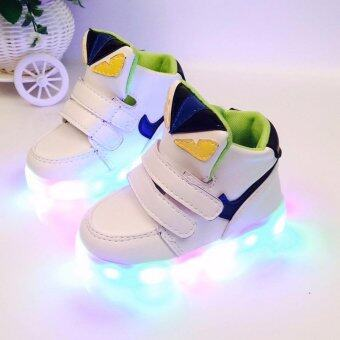 Harga The boys and girls High top Monster shoes LED lighting light sportshoes children baby shoes